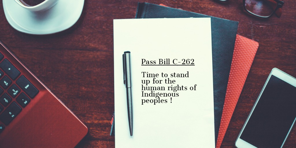 Pass Bill C-262 written on a notepad with a pen, computer and phone nearby